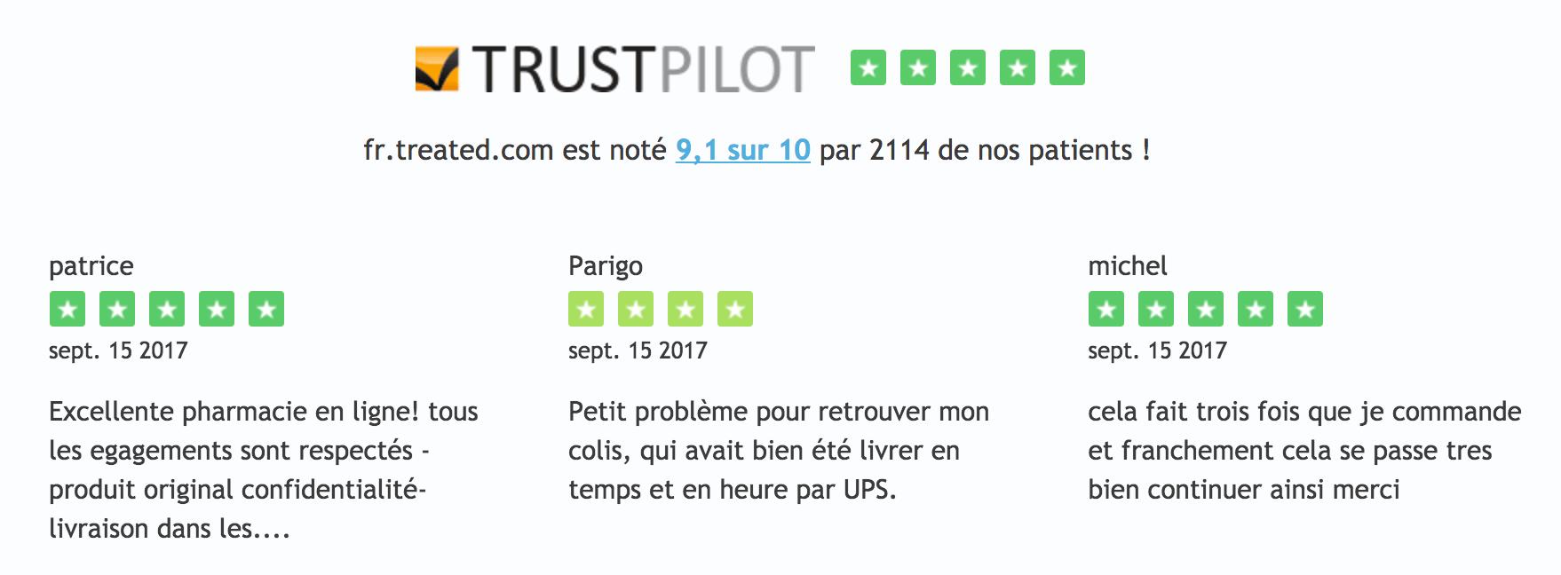 Des avis TrustPilot excellents